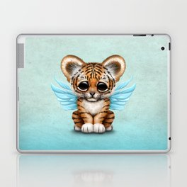 Cute Baby Tiger Cub with Fairy Wings on Blue Laptop & iPad Skin
