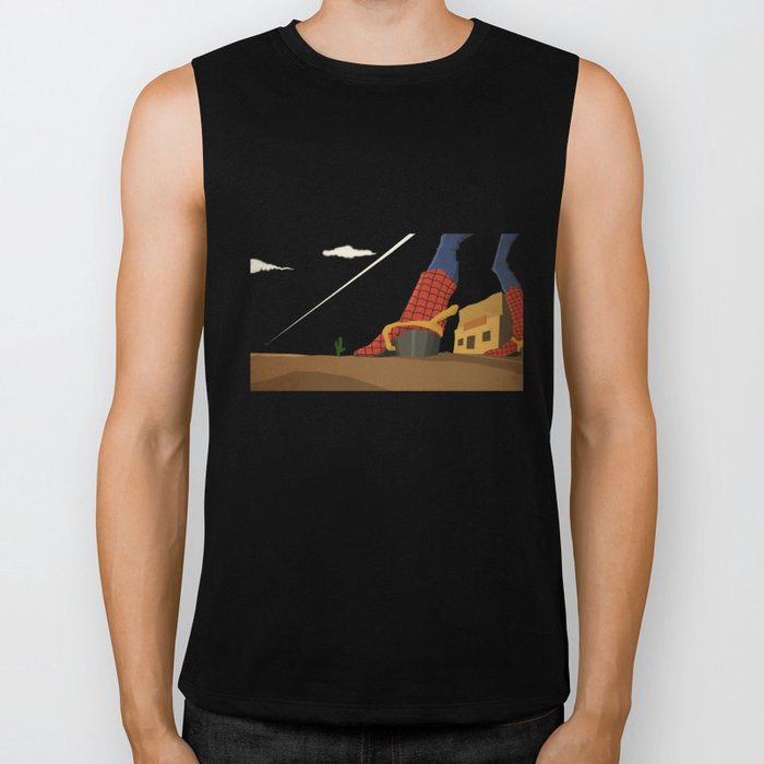 superheroes in the wild west Biker Tank