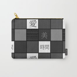 Black and white Japanese patchwork Carry-All Pouch