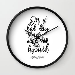 lipstick Quote,Lipstick Print,Makeup Print,Bathroom Decor,Fashion Print,Quote Prints,Wall Art Wall Clock