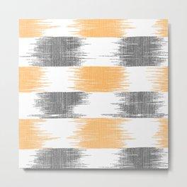 Abstract orange black white ikat pattern Metal Print