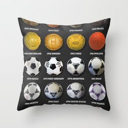 The World Cup Balls Throw Pillow