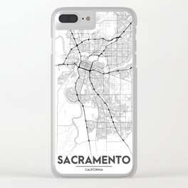 Minimal City Maps - Map Of Sacramento, California, United States Clear iPhone Case