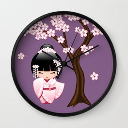 Japanese Bride Kokeshi Doll on Purple Wall Clock