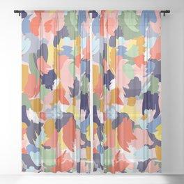 Bright Paint Blobs Sheer Curtain