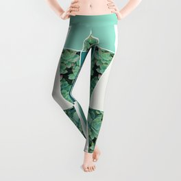 Teal Herringbone #society6 #teal #succulent Leggings