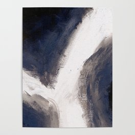 Navy, black & white abstract II Poster