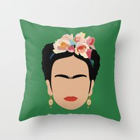 frida Throw Pillows featuring frida by Live It Up