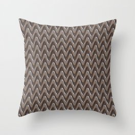 Metal silver gray zigzag Throw Pillow