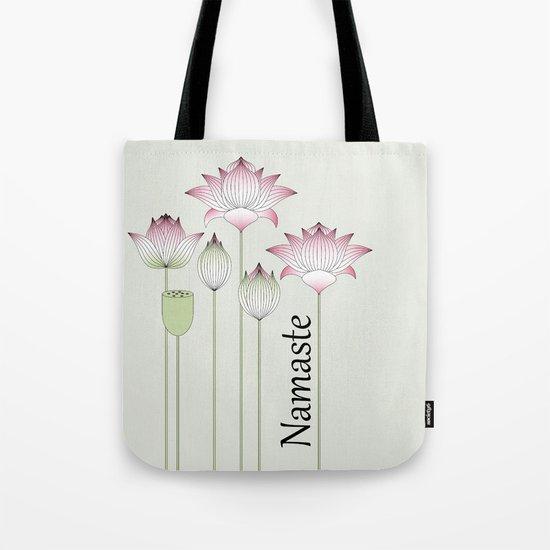 Modern Vintage Pink Lotus Flower Tote Bag