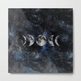 Moon Phases Luna Watercolor  2 Metal Print