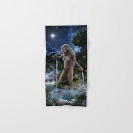 XVII. The Star Tarot Card Illustration (Color) Hand & Bath Towel