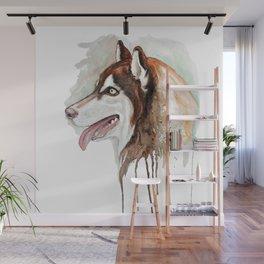 Brown Husky Profile Portrait Wall Mural