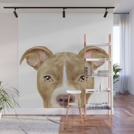 Pit Bull light Brown 2,Dog illustration original painting print Wall Mural