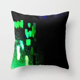 City Lights in the Rain Throw Pillow
