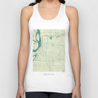 memphis Tank Tops featuring Memphis Map Blue Vintage by City Art Posters