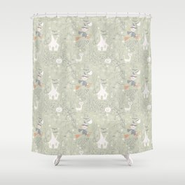 Little witch flying back home in Halloween Shower Curtain