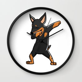 Funny Miniature Pinscher Dabbing Wall Clock