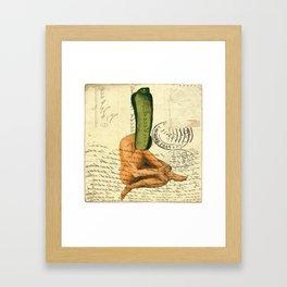 Snake Animal hybrid retro vintage postcard Framed Art Print