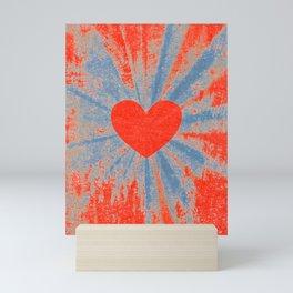 Red starburst valentine heart Mini Art Print