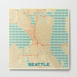 Seattle Map Retro Metal Print