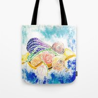vegetables Tote Bags featuring Vegetables by Elena_Voro