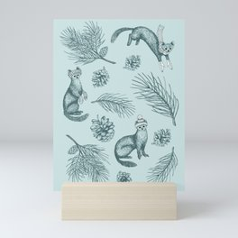 Pine Martens in Pine Forest (Mint and Pine) Mini Art Print