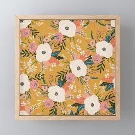 Blloming Flowers Ocre Pink Cream Framed Mini Art Print