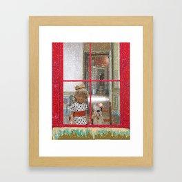 snowy christmas day Framed Art Print