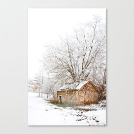 The Old Spring House in Winter Canvas Print