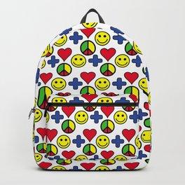 Positivity Peace Joy Happiness WHITE LG Backpack