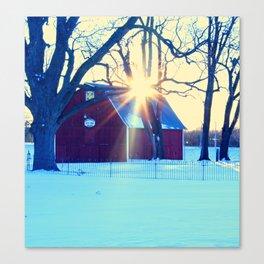 Barn in Winter in Iowa Canvas Print