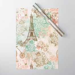 I love Paris - Vintage Shabby Chic - Eiffeltower France Flowers Floral  Wrapping Paper