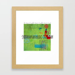Red and Green Abstract Art Collage Framed Art Print