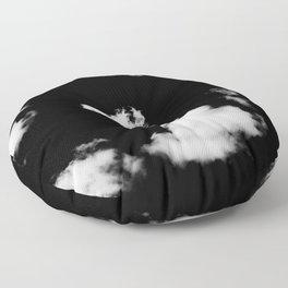 black & white clouds #1 Floor Pillow