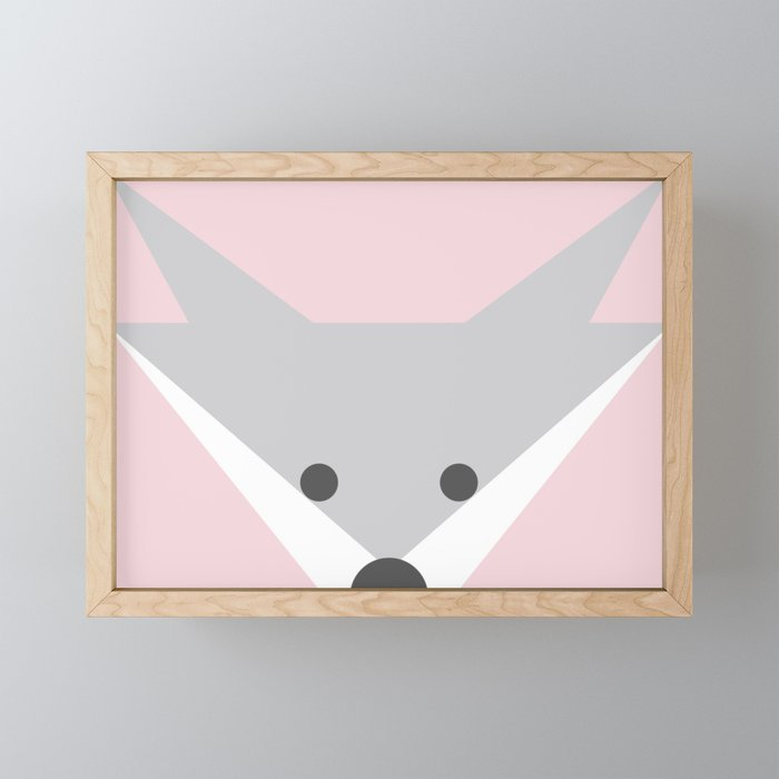 Peek-a-Boo Fox, Soft Pink Framed Mini Art Print