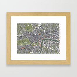 London city map engraving Framed Art Print
