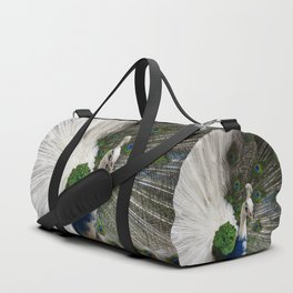 Blue White Peacock Duffle Bag