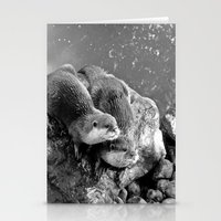 otters Stationery Cards featuring Otters in mono by Shalisa Photography