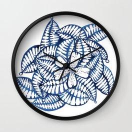 Indigo Frangipani Wall Clock
