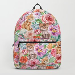 Kittens in flowers Backpack
