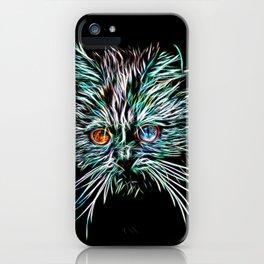 Odd-Eyed White Glowing Cat iPhone Case