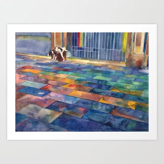 Dog and the city Art Print