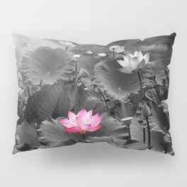 Lotus Flower on the pond, black-and-white background  Pillow Sham