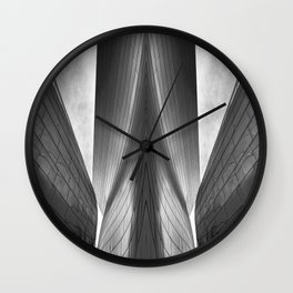 Architectural abstract captured in black and white from low perspective rendering a dramatic view. Wall Clock