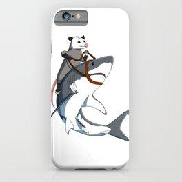 Opossum rides Shark iPhone Case