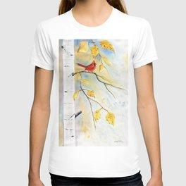 Cardinal on birch Tree T-shirt