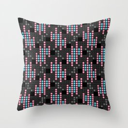 BRIXHAM, RETRO SQUARES: PINK and BLUE on BLACK Throw Pillow
