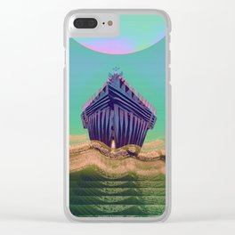 Surfing The Big Wave Searching Mermaids Clear iPhone Case