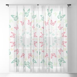 Vivid butterfly kaleidoscope mandala Sheer Curtain